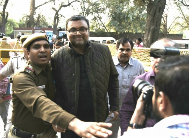 New Delhi: Karti Chidambaram, son of former Finance Minister P. Chidambaram who was arrested by the CBI from Chennai in connection with its ongoing probe into the INX media case, being taken to be produced at Patiala House Court in New Delhi on Feb 28, 2018. (Photo: IANS) by .