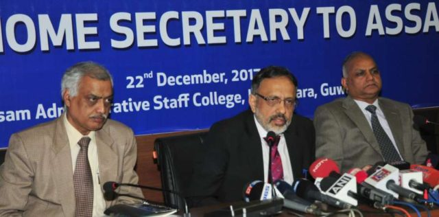 Guwahati: Union Home Secretary Rajiv Gauba addresses a press conference after attending the meeting of NRC Update, in Guwahati on Dec 22, 2017. (Photo: IANS/PIB) by .