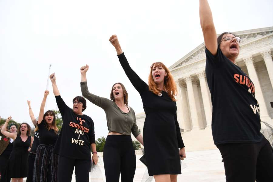 WASHINGTON, Oct. 7, 2018 (Xinhua) -- Protesters gather outside the U.S. Supreme Court after the U.S. Senate voted to confirm the Supreme Court nomination of Brett Kavanaugh in Washington D.C., the United States, on Oct. 6, 2018. The U.S. Senate on Saturday narrowly confirmed President Donald Trump's Supreme Court pick Brett Kavanaugh in its final floor vote, following a fierce partisan fight over sexual misconduct allegations against the nominee. (Xinhua/Liu Jie/IANS) by .