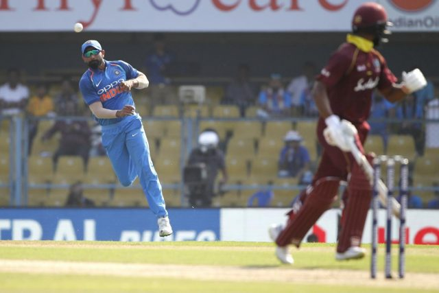 Guwahati: India's Mohammed Shami in action during the first ODI (One Day International) match between India and West Indies at the Barsapara Cricket Stadium in Guwahati, on Oct 21, 2018. (Photo: Surjeet Yadav/IANS) by .