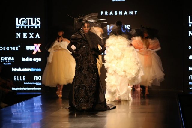 New Delhi: A model showcase creations of designer Prashant Verma during Lotus Make-Up India Fashion Week Spring Summer 2019 in New Delhi on Oct 11, 2018.(Photo: Amlan Paliwal/IANS) by .