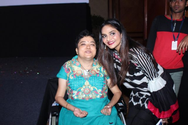 Mumbai: Activist Preethi Srinivasan with actress Madhoo Shah at the