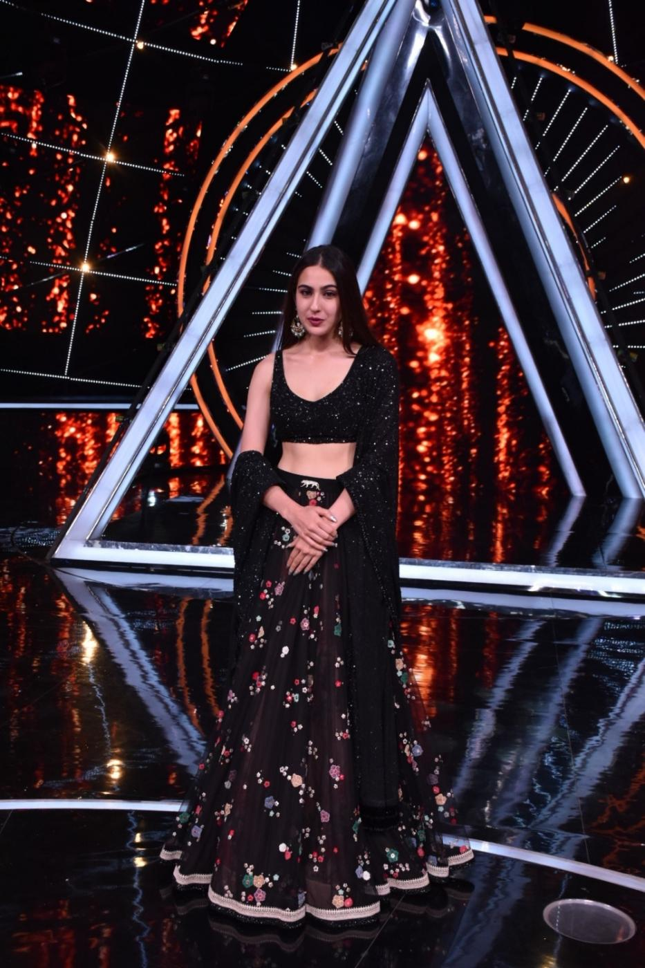 "Mumbai: Actress Sara Ali Khan on the sets of singing-based reality show ""Indian Idol 10"" in Mumbai on Nov 12, 2018. (Photo: IANS) by ."
