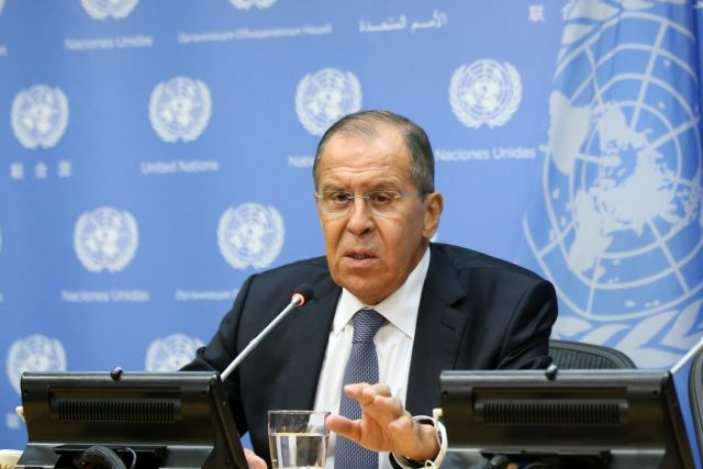 UNITED NATIONS, Sept. 29, 2018 (Xinhua) -- Russian Foreign Minister Sergey Lavrov attends a press conference at the UN headquarters in New York on Sept. 28, 2018. (Xinhua/Qin Lang/IANS) by .