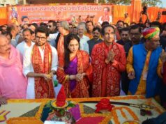 Ayodhya: Shiv Sena President Uddhav Thackeray, his wife Rashmi Thackeray and son Aditya Thackeray during a programme at Lakshman Kila in Uttar Pradesh's Ayodhya, on Nov 24, 2018. (Photo: IANS) by .