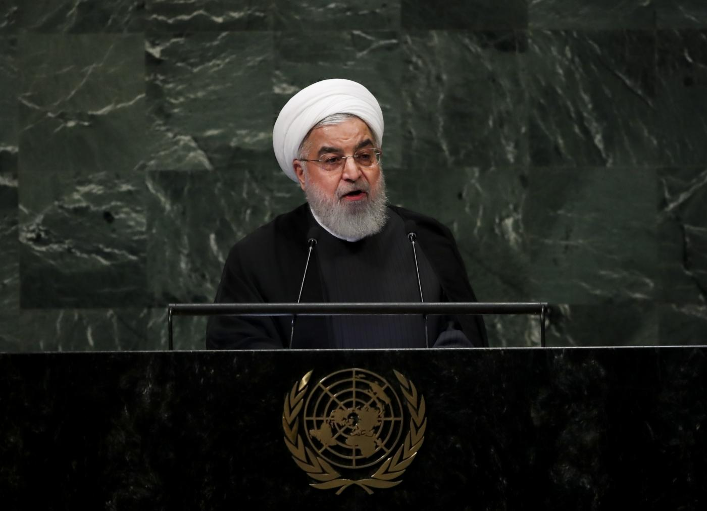 UNITED NATIONS, Sept. 25, 2018 (Xinhua) -- Iranian President Hassan Rouhani addresses the General Debate of the 73rd session of the United Nations General Assembly at the UN headquarters in New York, on Sept. 25, 2018. (Xinhua/Wang Ying/IANS) by .