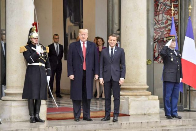 PARIS, Nov. 10, 2018 (Xinhua) -- French President Emmanuel Macron (C, R) poses with visiting U.S. President Donald Trump at the Elysee Palace in Paris, France, on Nov. 10, 2018. On the eve of the centenary of the World War I armistice, French President Emmanuel Macron met here with visiting U.S. President Donald Trump Saturday, as the latter called for more fairness in security cooperation with Europe. (Xinhua/Chen Yichen/IANS) by .