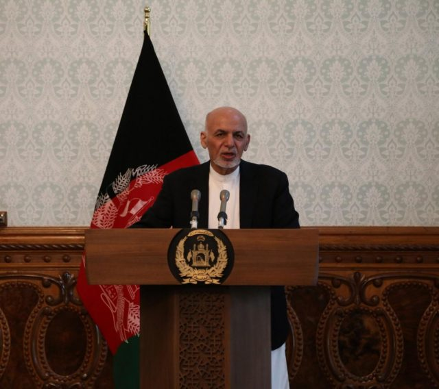 KABUL, Nov. 6, 2018 (Xinhua) -- Afghan President Mohammad Ashraf Ghani speaks during a joint press conference with NATO's Secretary General Jens Stoltenberg (not seen in the picture) in Kabul, capital of Afghanistan, Nov. 6, 2018. Visiting NATO Secretary General Jens Stoltenberg assured the military alliance's firm support to Afghanistan's security forces here on Tuesday. (Xinhua/Rahmat Alizadah/IANS) by .