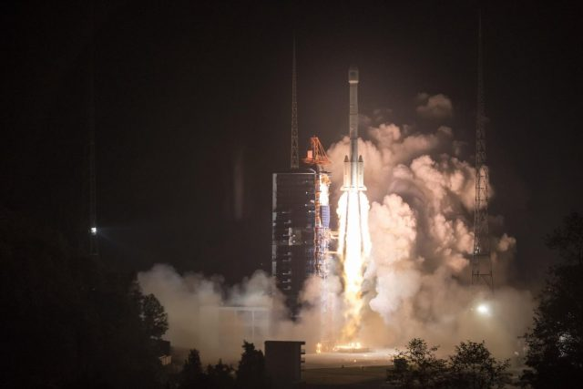 XICHANG, Nov. 19, 2018 (Xinhua) -- China sends two new satellites of the BeiDou Navigation Satellite System (BDS) into space on a Long March-3B carrier rocket from the Xichang Satellite Launch Center in southwest China's Sichuan Province, at 2:07 a.m. on Nov. 19, 2018. (Xinhua/Ju Zhenhua/IANS) by .