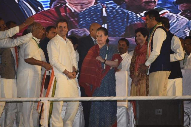 Medchal: UPA chairperson Sonia Gandhi and Congress President Rahul Gandhi during a public meeting in Medchal, Medchal-Malkajgiri district, Telangana on Nov 23, 2018. (Photo: IANS) by .