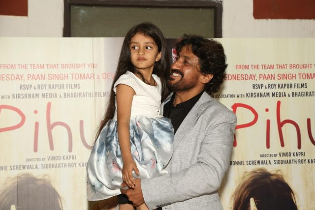 New Delhi: Child actor Myra Vishwakarma along with director Vinod Kapri during the special screening of the upcoming film