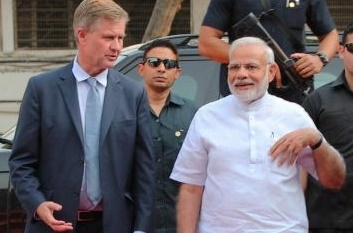 Erik Solheim, who has resigned as the executive director of the United Nations Environment Programmed on Tuesday, Nov. 20, 2018, is seen with Prime Minister Narendra Modi during a visit to India. (Photo: UNEP) by .