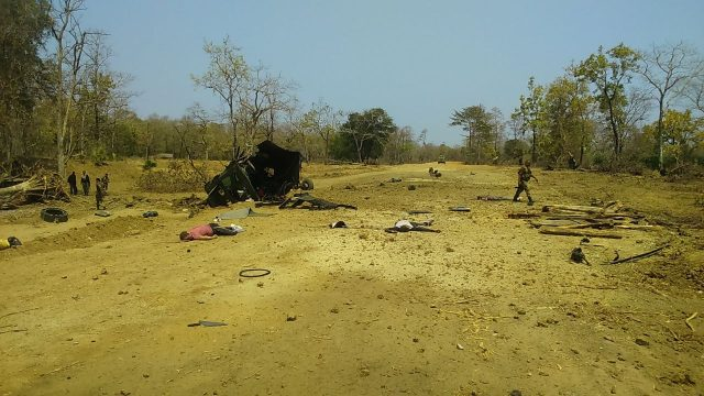 Sukma: The site where Maoists blew up an anti-landmine vehicle of the 212 CRPF Battalion in Sukma district of Chhattisgarh on March 13, 2018. At least nine CRPF personnel were killed and two injured in the incident. (Photo: IANS) by .