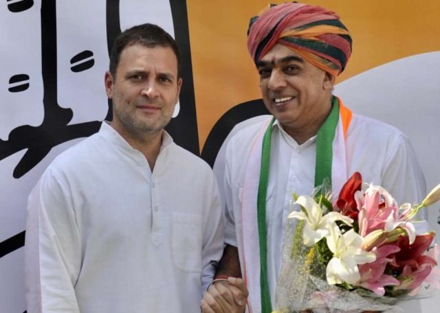 New Delhi: Former Union Minister and senior BJP leader Jaswant Singh's son Manvendra Singh, who quit the Bharatiya Janata Party in September, joins Congress in the presence of party's President Rahul Gandhi in New Delhi, on Oct 17, 2018. (Photo: IANS/Congress) by .