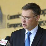 """BRUSSELS, Sept. 12, 2018 (Xinhua) -- Photo taken on Sept. 5, 2018 shows European Commission Vice President for Euro and Social Dialogue Valdis Dombrovskis during an exclusive interview with Xinhua outside the European Commission headquarters in Brussels, Belgium. Dombrovskis has called for close cooperation between the European Union (EU) and China in financial services, urging both sides to work together to make international financial system """"safe, stable and efficient."""" (Xinhua/Ye Pingfan/IANS) by ."""