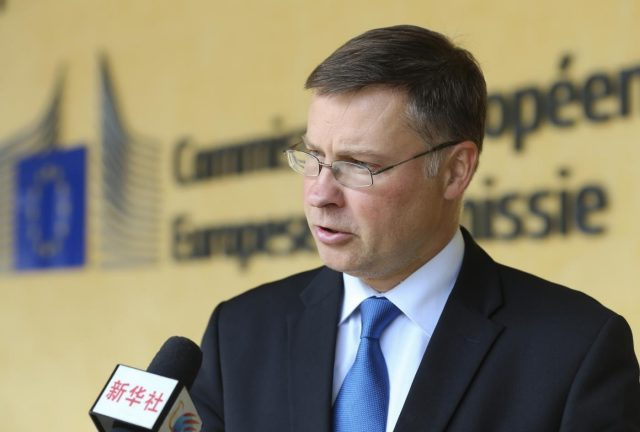 BRUSSELS, Sept. 12, 2018 (Xinhua) -- Photo taken on Sept. 5, 2018 shows European Commission Vice President for Euro and Social Dialogue Valdis Dombrovskis during an exclusive interview with Xinhua outside the European Commission headquarters in Brussels, Belgium. Dombrovskis has called for close cooperation between the European Union (EU) and China in financial services, urging both sides to work together to make international financial system