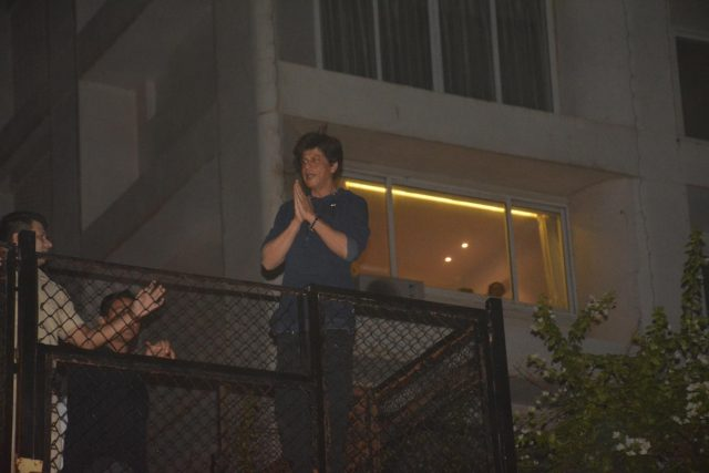 Caption: Mumbai: Actor Shah Rukh Khan greets his fans from his residence - Mannat on his 53rd birthday in Mumbai on Nov 2, 2018. (Photo: IANS) by .