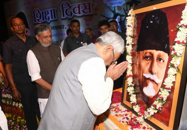 Patna: Bihar Chief Minister Nitish Kumar, accompanied by Deputy Chief Minister Sushil Kumar Modi, pay tributes to Maulana Abul Kalam Azad during a programme organised on his 130th birth anniversary, in Patna on Nov 11, 2018. The day is celebrated as National Education Day in commemoration of Maulana Azad, who was Independent India's first Education Minister and a celebrated scholar. (Photo: IANS) by .