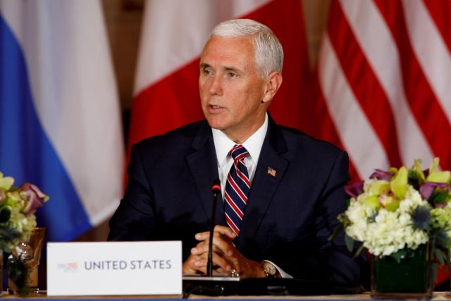 WASHINGTON, Oct. 11, 2018 (Xinhua) -- U.S. Vice President Mike Pence speaks during the Conference on Prosperity and Security in Central America at the U.S. Department of State in Washington D.C., the United States, on Oct. 11, 2018. (Xinhua/Ting Shen/IANS) by .