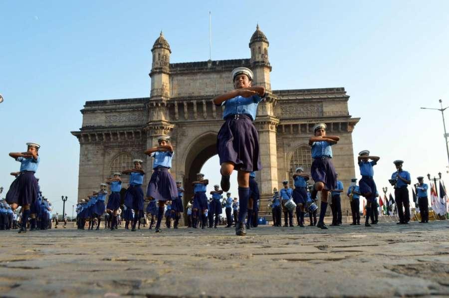 Mumbai: Navy Day rehearsals underway at Gateway of India in Mumbai, on Nov 28, 2017. (Photo: Sandeep Mahankal/IANS) by .