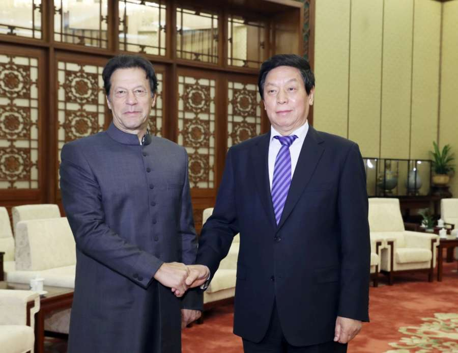 BEIJING, Nov. 3, 2018 (Xinhua) -- Li Zhanshu (R), chairman of the Standing Committee of the National People's Congress (NPC), meets with Pakistani Prime Minister Imran Khan at the Great Hall of the People in Beijing, capital of China, Nov. 3, 2018. (Xinhua/Ding Lin/IANS) by .