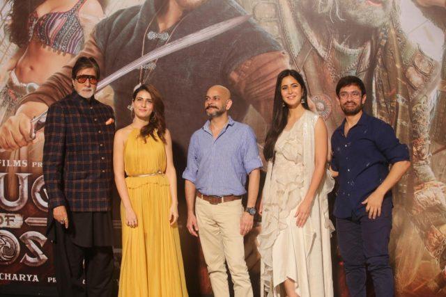 Mumbai: Actors Amitabh Bachchan, Aamir Khan, Fatima Sana Shaikh, Katrina Kaif and director Vijay Krishna Acharya at the trailer launch of their upcoming film