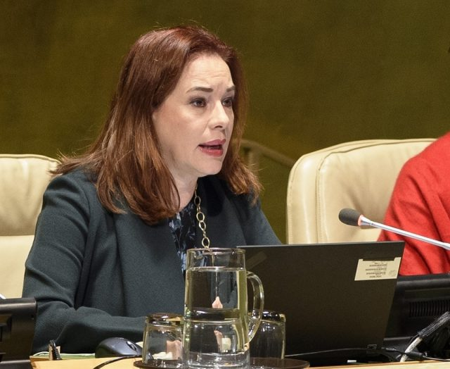 United Nations General Assembly President Maria Fernanda Espinosa Garces chairs the Assembly session on Security Council reforms on Tuesday, Nov. 20, 2018. (Photo: UN/IANS) by .