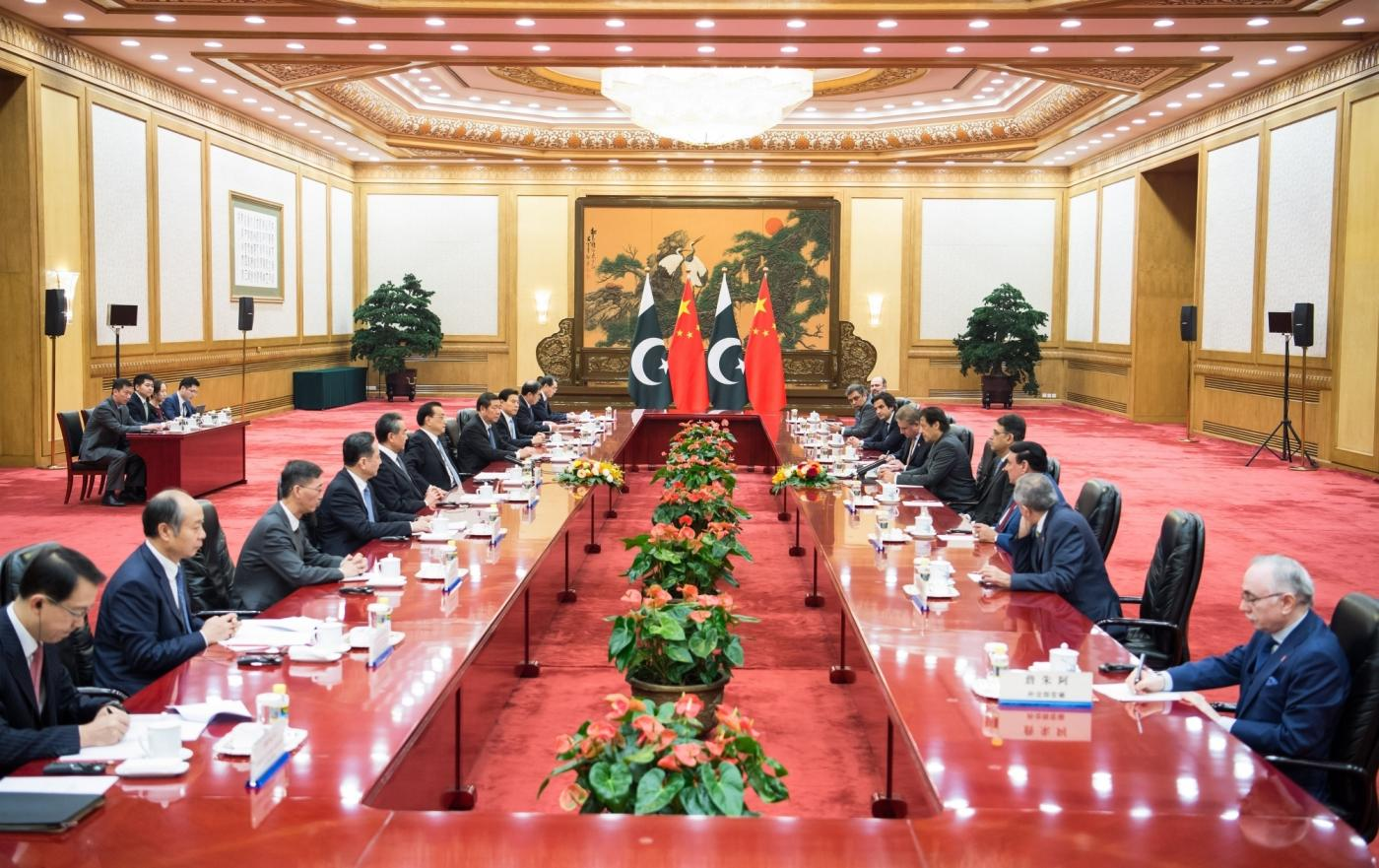 BEIJING, Nov. 3, 2018 (Xinhua) -- Chinese Premier Li Keqiang holds talks with Pakistani Prime Minister Imran Khan, who is paying an official visit to China, at the Great Hall of the People in Beijing, capital of China, Nov. 3, 2018. (Xinhua/Zhai Jianlan/IANS) by .