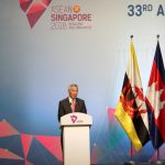 SINGAPORE, Nov. 13, 2018 (Xinhua) -- Singaporean Prime Minister Lee Hsien Loong addresses the opening ceremony of the 33rd summit of the Association of Southeast Asian Nations (ASEAN) in Singapore, on Nov. 13, 2018. The 33rd ASEAN summit opened here Tuesday with a call for upholding multilateralism and international cooperation. (Xinhua/Li Gang/IANS) by .