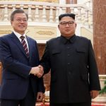 Pyongyang: South Korean President Moon Jae-in (L) and North Korean leader Kim Jong-un shake hands before their summit talks at the headquarters of the North's Workers' Party Central Committee in Pyongyang on Sept. 18, 2018. It was the first time that the headquarters, which houses offices of the North's top ranking officials, including Kim, was opened to a foreign leader. (Yonhap/IANS) by .