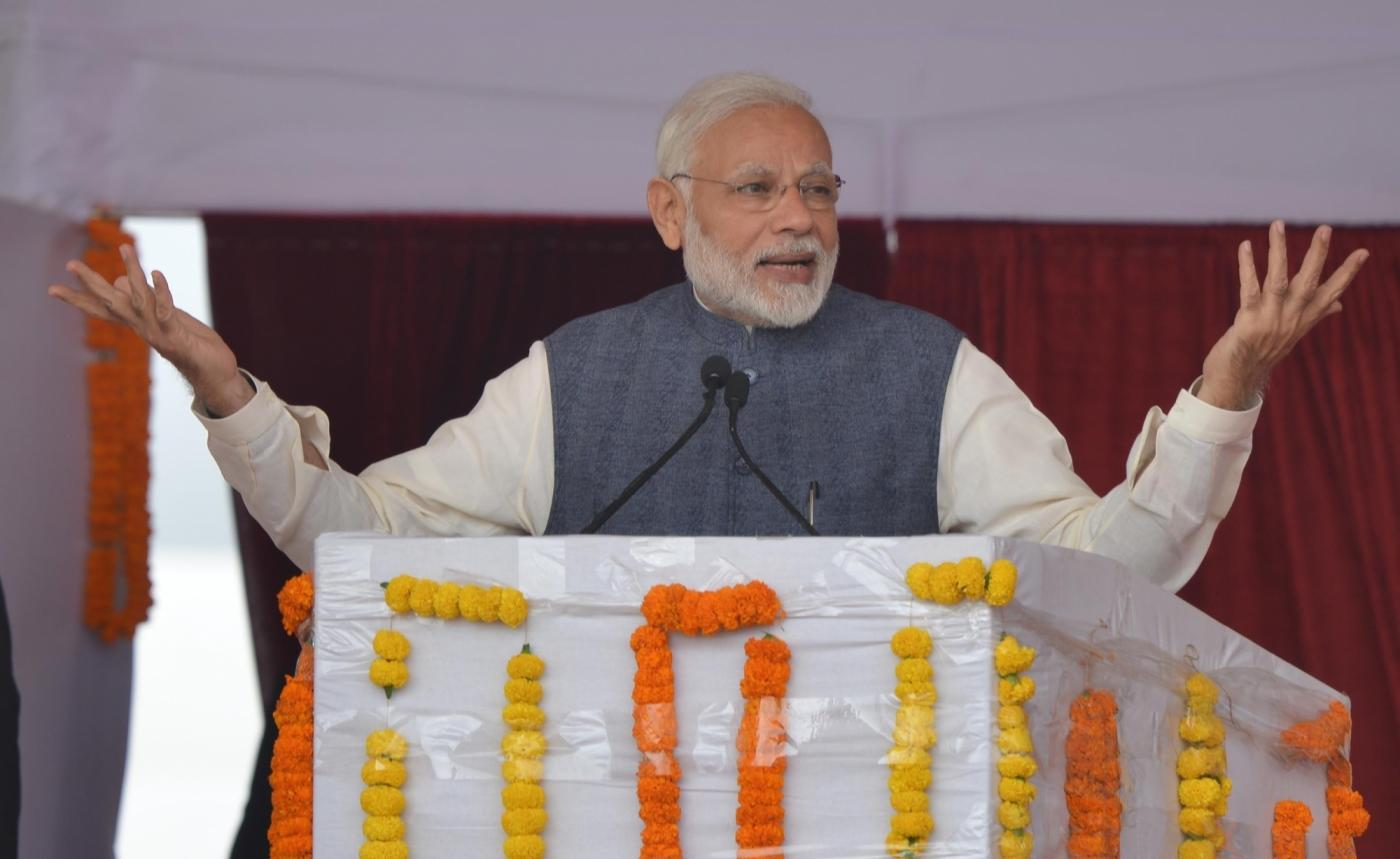 Sultanpur: Prime Minister and BJP leader Narendra Modi after inaugurating the Kundli-Manesar Section of the Kundli-Manesar-Palwal (KMP) Western Peripheral Expressway and also inaugurated the Ballabgarh-Mujesar Metro Link, at Sultanpur, Haryana on Nov 19, 2018. (Photo: IANS) by .