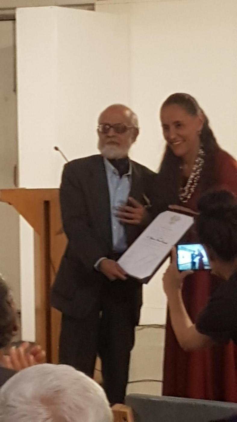 """New Delhi: Mexican ambassador to India Melba Pria presents an award to Prof. Shyama Prasad Ganguly during the book launch and seminar sessions of """"India Remembers Octavio Paz"""" in New Delhi on Nov 19, 2018. (Photo: IANS) by ."""