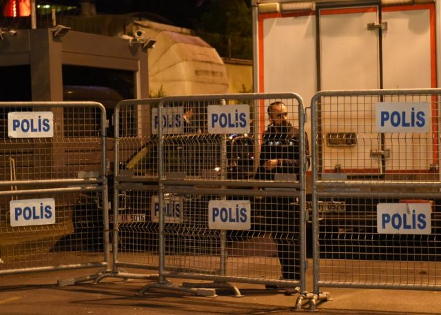 ISTANBUL, Oct. 15, 2018 (Xinhua) -- A Turkish policeman stands outside the Saudi consulate in Istanbul, Turkey, Oct. 15, 2018. A Turkish team entered the Saudi consulate in Istanbul on Monday evening to conduct a search over the disappearance of the Saudi journalist Jamal Khashoggi, live broadcast showed. (Xinhua/He Canling/IANS) by .