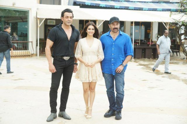Mumbai: Actors Bobby Deol, Kriti Kharbanda and Sunny Deol during a media interaction to promote their upcoming film