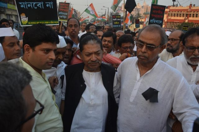 Kolkata: Congress workers led by West Bengal party president Somen Mitra, stage a demonstration against the killing of five people by militants in Kherbari of Assam's Tinsukia district; in Kolkata on Nov 3, 2018. (Photo: IANS) by .