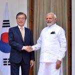 New Delhi: Prime Minister Narendra Modi and South Korean President Moon Jae-in head for a meeting at Hyderabad House, in New Delhi on July 10, 2018. (Photo: IANS) by .