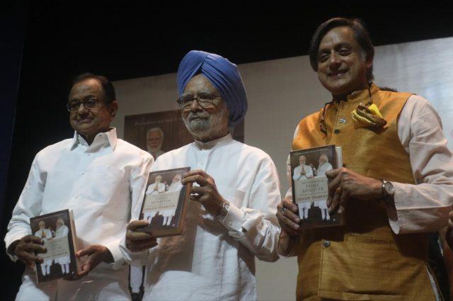 New Delhi: Congress leaders Dr. Manmohan Singh and P. Chidambaram at the launch of Shashi Tharoor's book