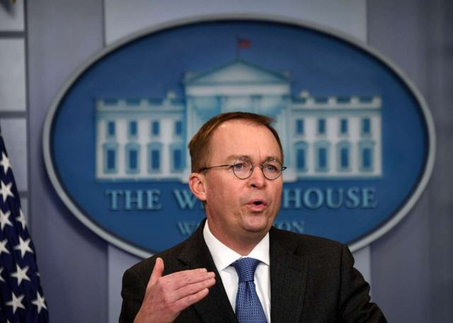 WASHINGTON, Jan. 19, 2018 (Xinhua) -- White House Office of Management and Budget Director Mick Mulvaney speaks during a briefing on a possible government shutdown at the White House in Washington D.C., the United States, on Jan. 19, 2018. White House is preparing for a government shutdown, as the chances of a short-term government funding bill passed by the Senate are dimmed, said Mulvaney on Friday. (Xinhua/Yin Bogu/IANS) by .
