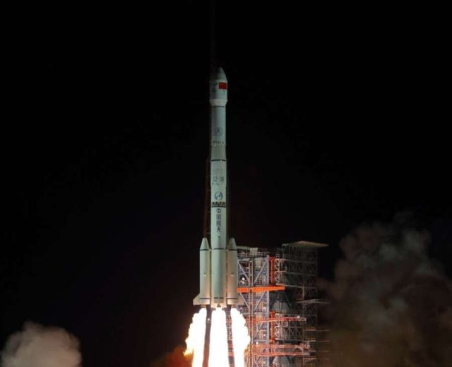 XICHANG, Dec. 8, 2018 (Xinhua) -- China launches Chang'e-4 lunar probe in the Xichang Satellite Launch Center in southwest China's Sichuan Province, Dec. 8, 2018. The probe is expected to make the first-ever soft landing on the far side of the moon. A Long March-3B rocket, carrying the probe including a lander and a rover, blasted off from Xichang at 2:23 a.m., opening a new chapter in lunar exploration. The scientific tasks of the Chang'e-4 mission include low-frequency radio astronomical observation, surveying the terrain and landforms, detecting the mineral composition and shallow lunar surface structure, and measuring the neutron radiation and neutral atoms to study the environment on the far side of the moon, the China National Space Administration announced. China has promoted international cooperation in its lunar exploration program, with four scientific payloads in the Chang'e-4 mission developed by scientists from the Netherlands, Germany, Sweden and Saudi Arabia. (Xinhua/Jiang Hongjing/IANS) by .