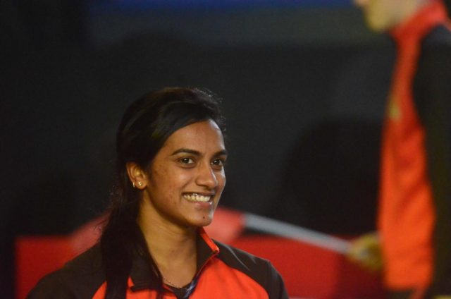 Mumbai: Indian shuttler P V Sindhu after winning a Premier Badminton League match against Spanish shuttler Carolina Marin at the NSCI Stadium in Mumbai, on Dec 22, 2018. (Photo: IANS) by .