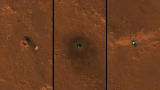 NASA's InSight spacecraft, its heat shield and its parachute were imaged on Dec. 6 and 11 by the HiRISE camera onboard NASA's Mars Reconnaissance Orbiter. (Photo Credits: NASA/JPL-Caltech/University of Arizona) by .
