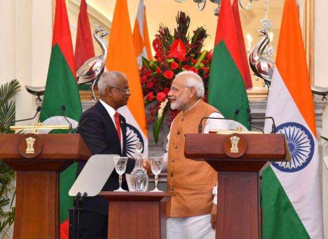 New Delhi: Prime Minister Narendra Modi and Maldives President Ibrahim Mohamed Solih at the Joint Press Statement at Hyderabad House in New Delhi, on Dec 17, 2018. (Photo: IANS/PIB) by .