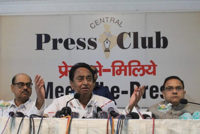 Bhopal: Congress leader Kamal Nath addresses a press conference in Bhopal on May 7, 2018. (Photo: IANS) by .