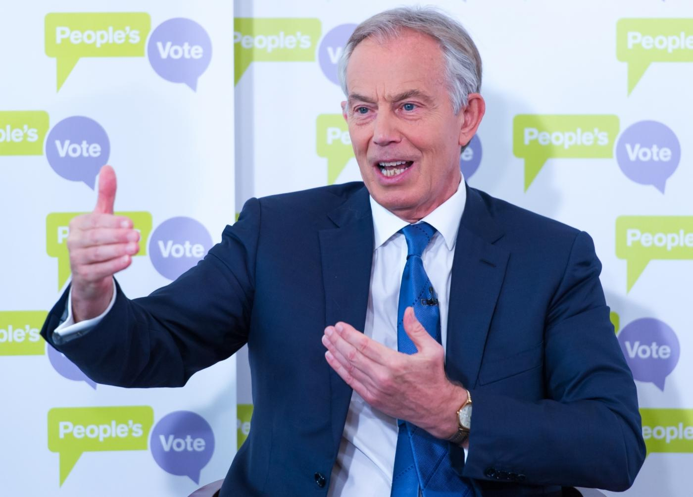 LONDON, Dec. 14, 2018 (Xinhua) -- Former British Prime Minister Tony Blair delivers a speech on Brexit in an event in London, Britain, on Dec. 14, 2018. Tony Blair, a strong supporter of Britain remaining in the EU, said in a speech Friday there would soon be a majority in the British parliament for a second referendum on EU membership. (Xinhua/IANS) by .