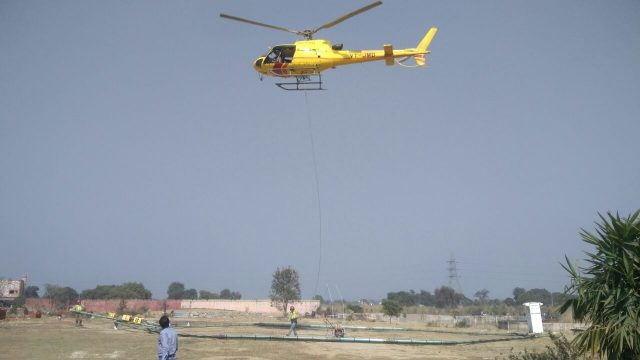 Allahabad: Aerial searches being conducted by a team of scientists from National Geophysical Research Institute (NGRI) using a device taken on lease from Denmark to trace underneath paleochannel of river Saraswati; in Allahabad on Feb 1, 2018.(Photo: IANS) by .