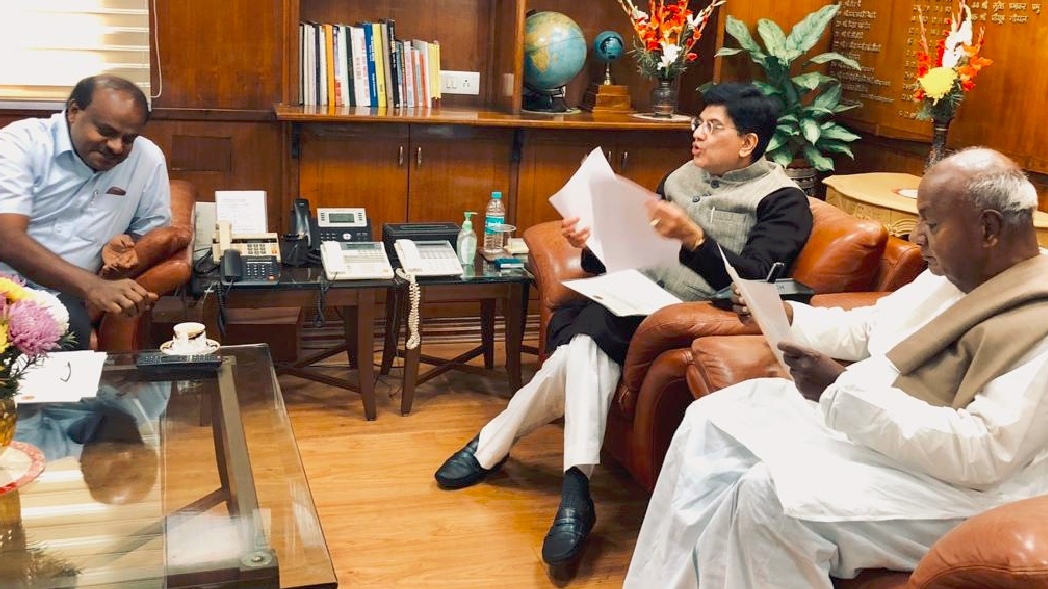 New Delhi: Karnataka Chief Minister H. D. Kumaraswamy and Former Prime Minister H. D. Deve Gowda calls on Union Railways Minister Piyush Goyal in New Delhi on Dec 27, 2018. (Photo: IANS) by .