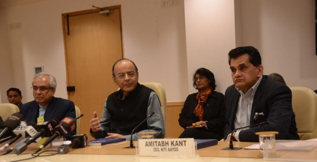 New Delhi: Union Finance Minister Arun Jaitley with NITI Aayog Vice Chairperson Rajiv Kumar and CEO Amitabh Kant during a press conference organised to release NITI Aayog's 'Strategy for New India @75', in New Delhi on Dec 19, 2018. (Photo: IANS) by .