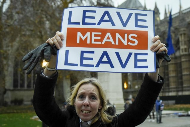 LONDON, Dec. 4, 2018 (Xinhua) -- A pro-Brexit supporter is seen outside the House of Commons in London, Britain, on Dec. 4, 2018. British Prime Minister Theresa May said the five day Brexit debate which started Tuesday evening in the House of Commons will set the course Britain takes for decades to come. Next Tuesday MPs will vote on whether to support or reject a deal agreed between May's government and the European Union on Britain's future relationship with Brussels. (Xinhua/Stephen Chung/IANS) by .