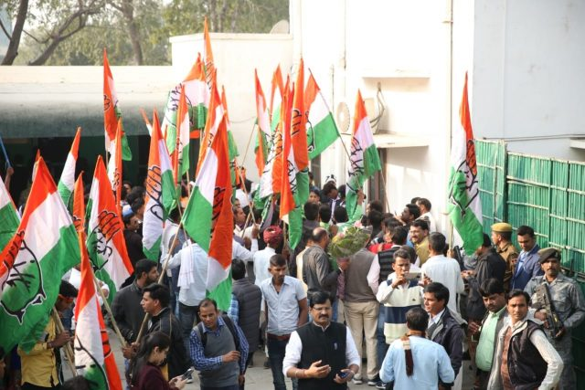 Jaipur: Party workers celebrate at Congress party office as Congress leads in the Rajasthan assembly elections in Jaipur on Dec 11, 2018. (Photo: IANS) by .