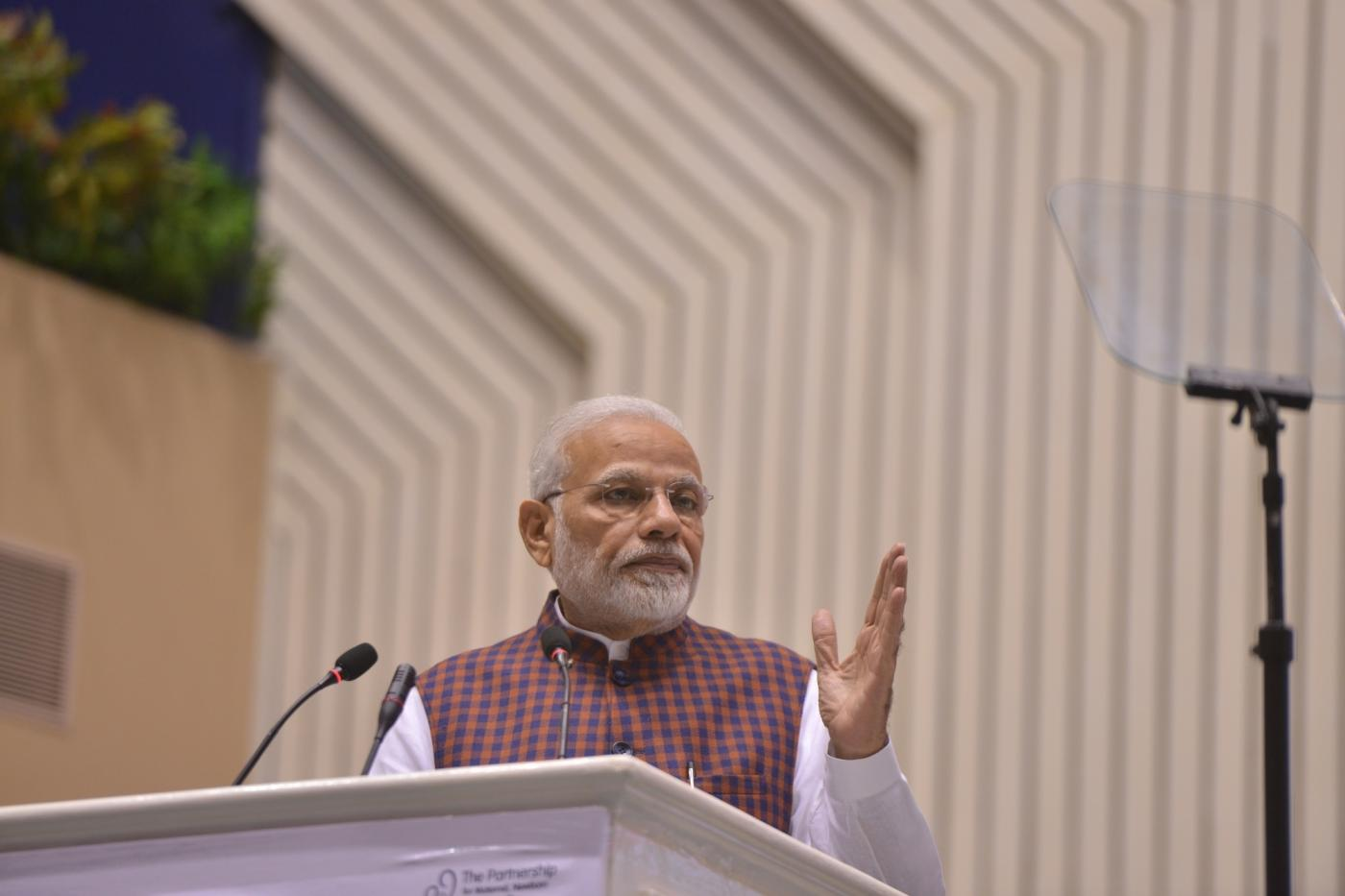 New Delhi: Prime Minister Narendra Modi addressing at the inauguration of the Partners' Forum-2018 in New Delhi on Dec. 12, 2018. (Photo: IANS) by .